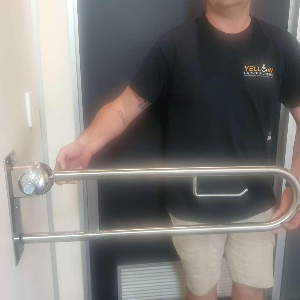 toilet grab rail with built in toilet roll holder